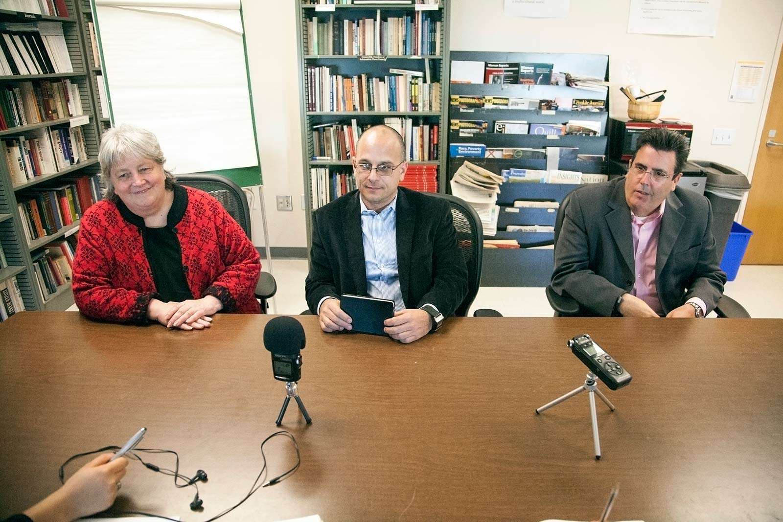(Left to right) associate dean Susan Shimanoff,  dean Daniel Bernardi and associate dean Todd Roehrman, the dean staff of the college of liberal and creative arts, field questions from Xpress staff members during a formal interview Wednesday Dec. 3.  Martin Bustamante/Xpress