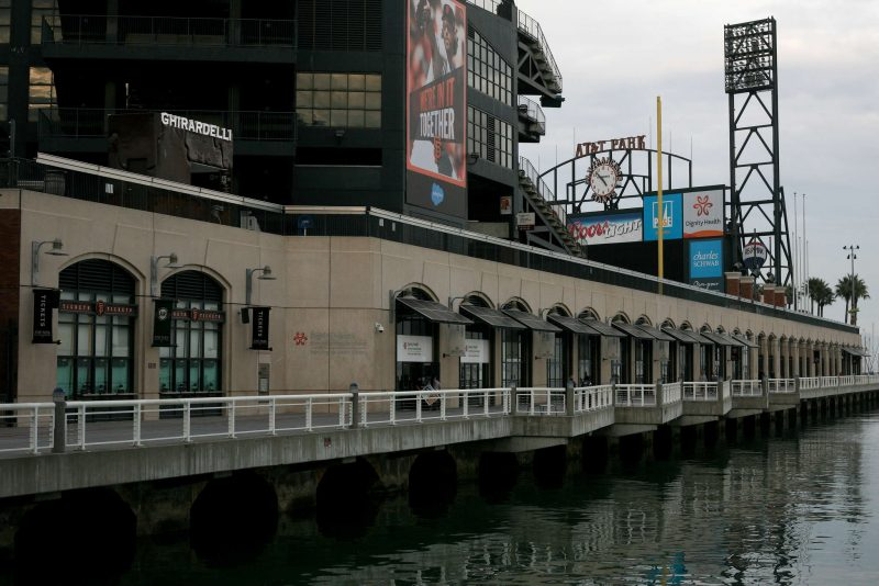 The score board at AT&T Park is seen from the side of the park in San Francisco, Calif., on Monday January 26, 2015.