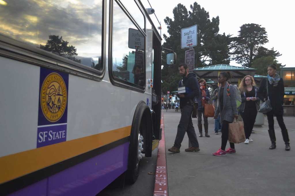 SF State students file into the newly improved Daly City Bart shuttle on their first day back at school after winter break on Monday, Jan. 26.