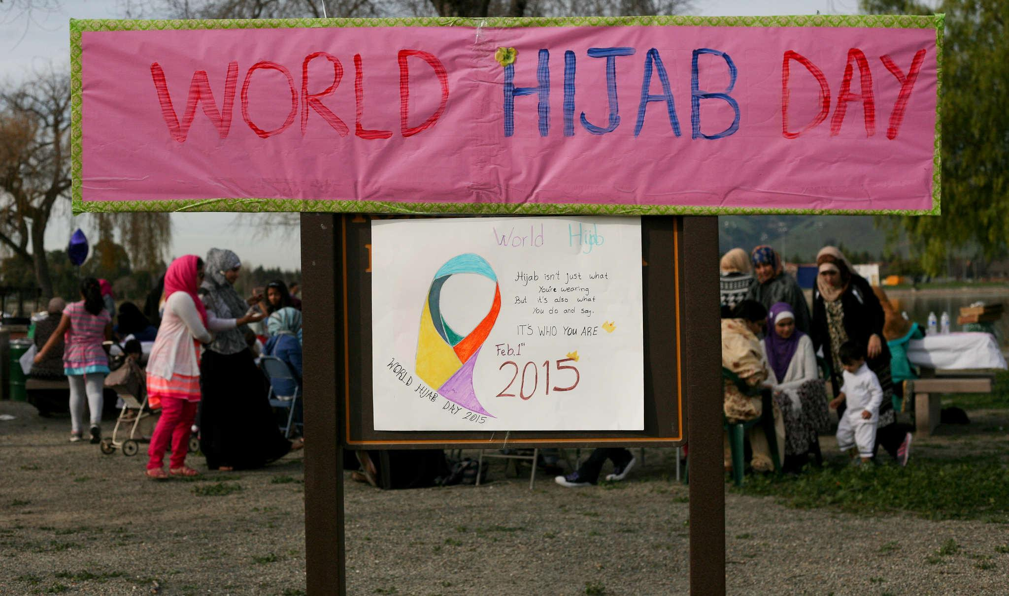 Families from all around the area join together to celebrate World Hijab Day at Lake Elizabeth in Fremont, Calif,. Sunday Feb. 1, 2015.