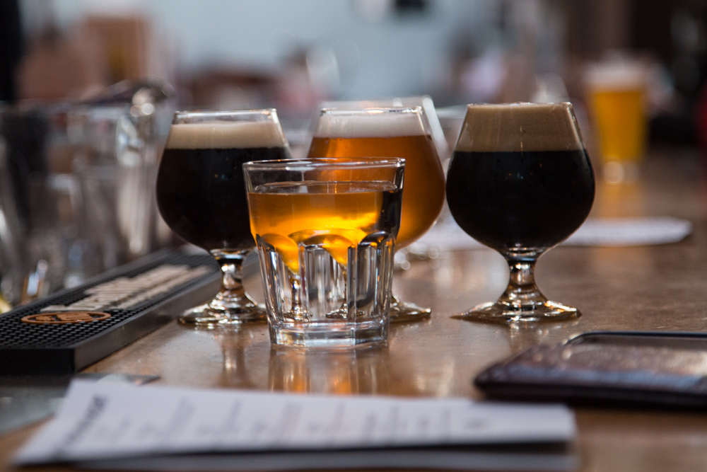 Some of the new beer ordered at Social Kitchen & Brewery for San Francisco Beer Week on Monday, Feb. 9, 2015.