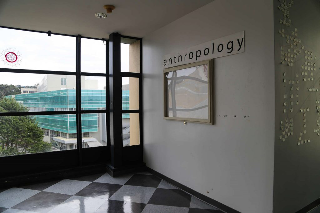 A paper sign denotes the new home of SF State's anthropology department, the fifth floor of the Fine Arts building. The department moved over the winter recess. (Kate Fraser / Xpress)