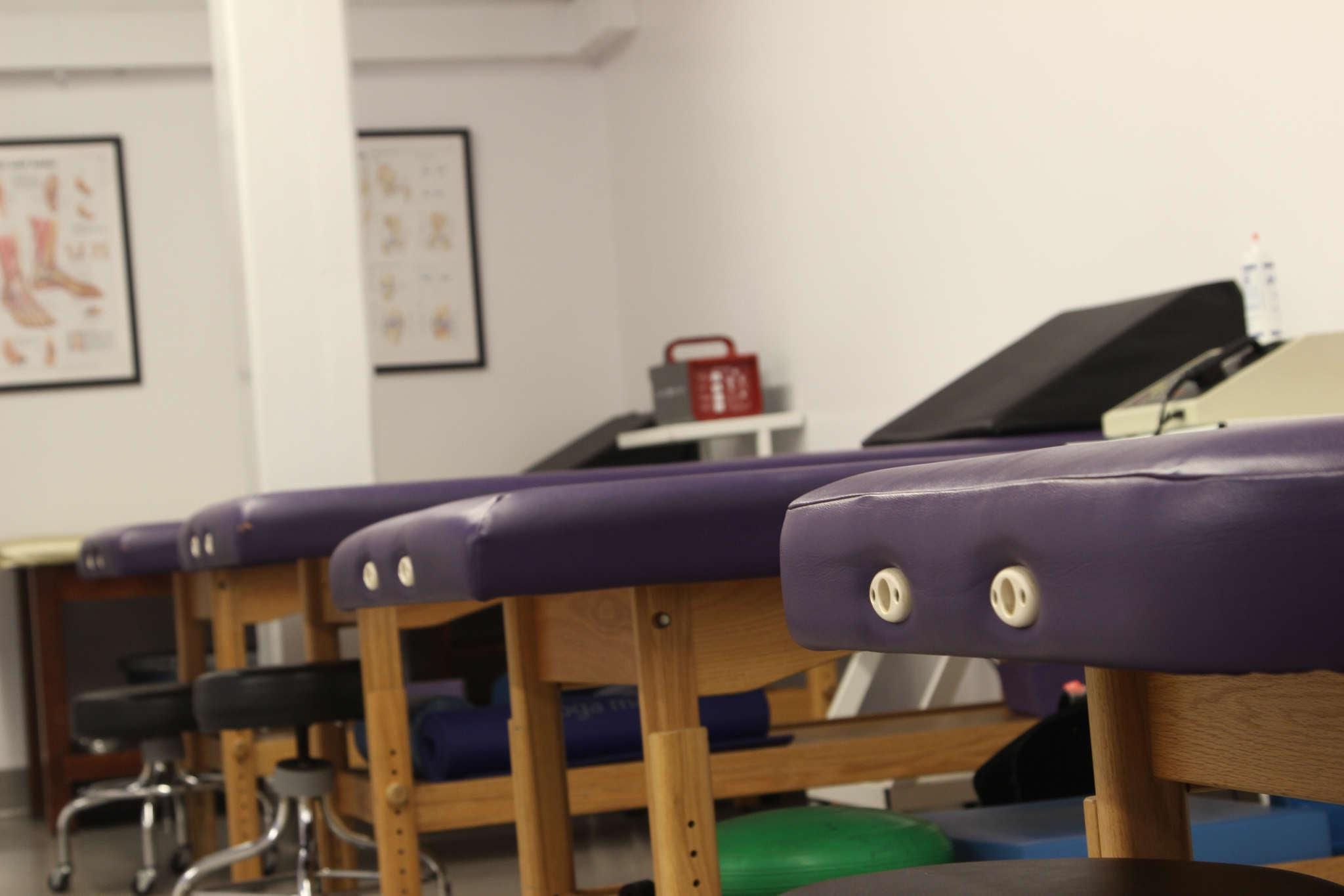 Sports treatment tables sit in the new Sports Medicine room located in the Gymnasium at SF State, Tuesday, Feb. 17.