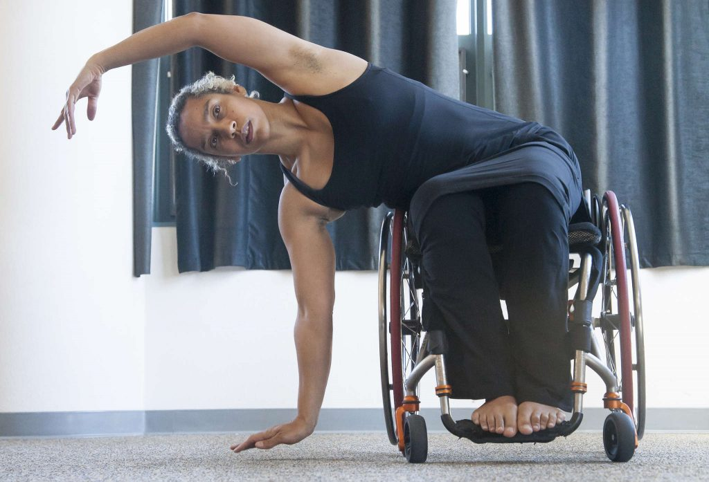 Dance artist Alice Sheppard goes through one of her dance moves with her wheelchair during a rehearsal before her performance in the Humanities building Tuesday Feb. 24. 2015. (Martin Bustamante / Xpress)