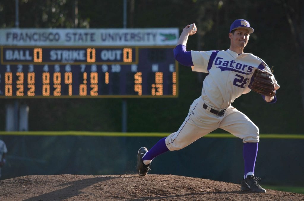 SF State Gator Cory Davis (28) pitches during the ninth inning during the game against the Cal State L.A. Golden Eagles at Maloney Field on Friday, Feb. 27. (Melissa Minton / Xpress)