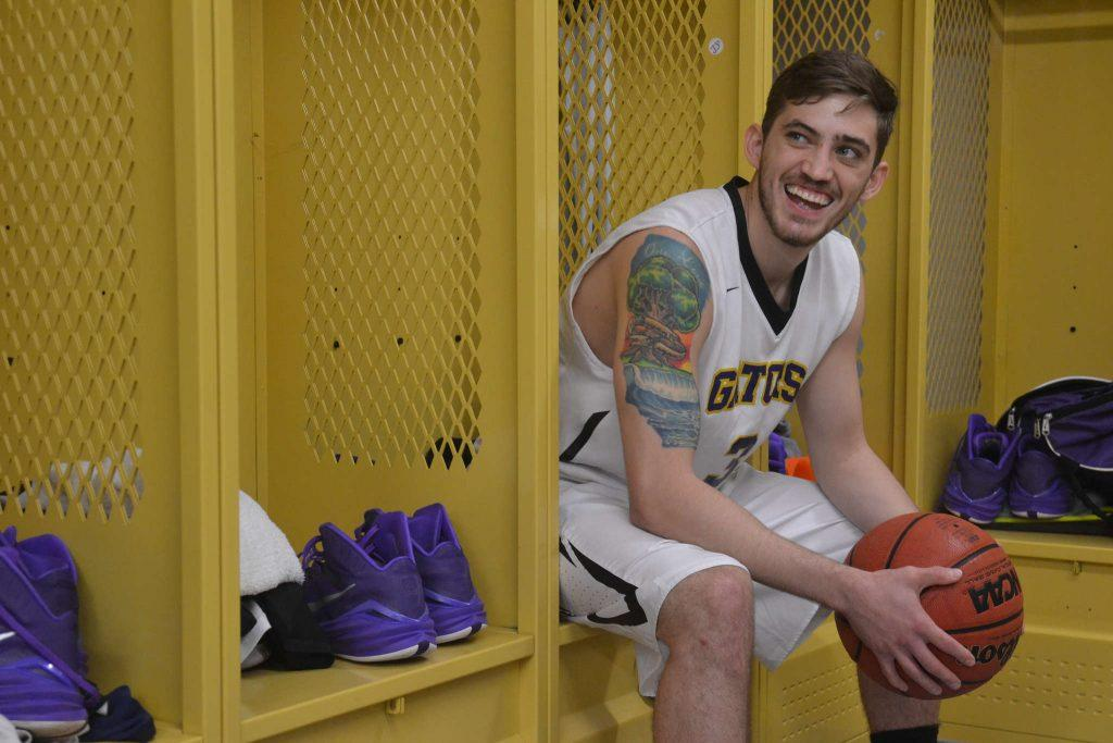 SF State's Bren Haley, who leads the basketball team in stats, hangs out in the locker room on campus Tuesday, Feb. 10.