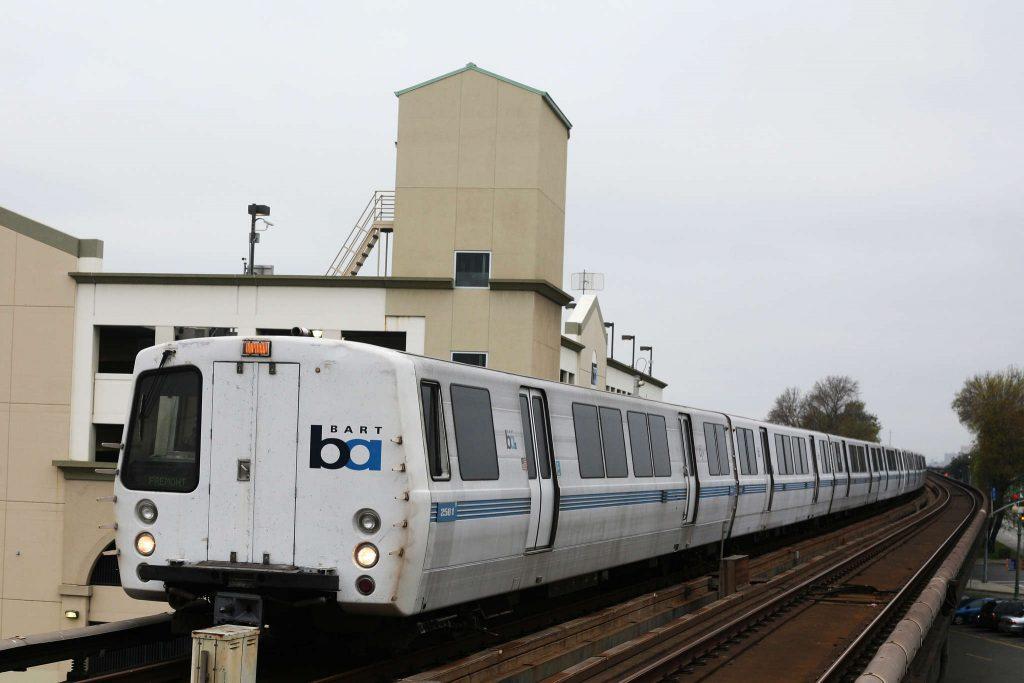 A Fremont bound bart train arrives at Fruitvale station in Oakland Tuesday, Feb. 17.  (Daniel Porter / Xpress)