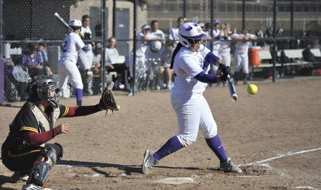 SF Gators player Selina Rodriguez, #24, doubles during the second game of a double header against Cal State Dominguez Hills on March 6, 2015. (Sara Gobets / Xpress)