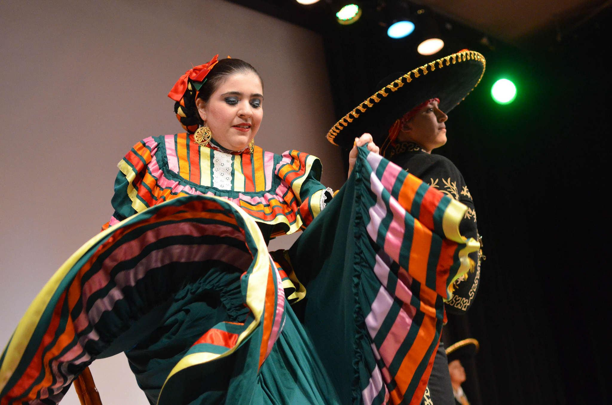 Grupo Folklórico Los Mejicas perform at the 4th Annual Associated Students Women's Conference: Empowered Women Empower Women at Jack Adams Hall Saturday, March 14. (Melissa Minton / Xpress)