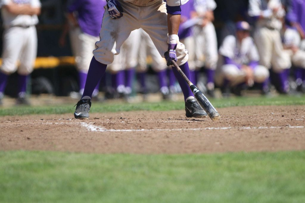 SF State Gator Matt Vera (7) hits his bat on the ground at the game against Cal State Stanislaus Warriors on Sunday March 29. (Marlene Sanchez / Xpress)