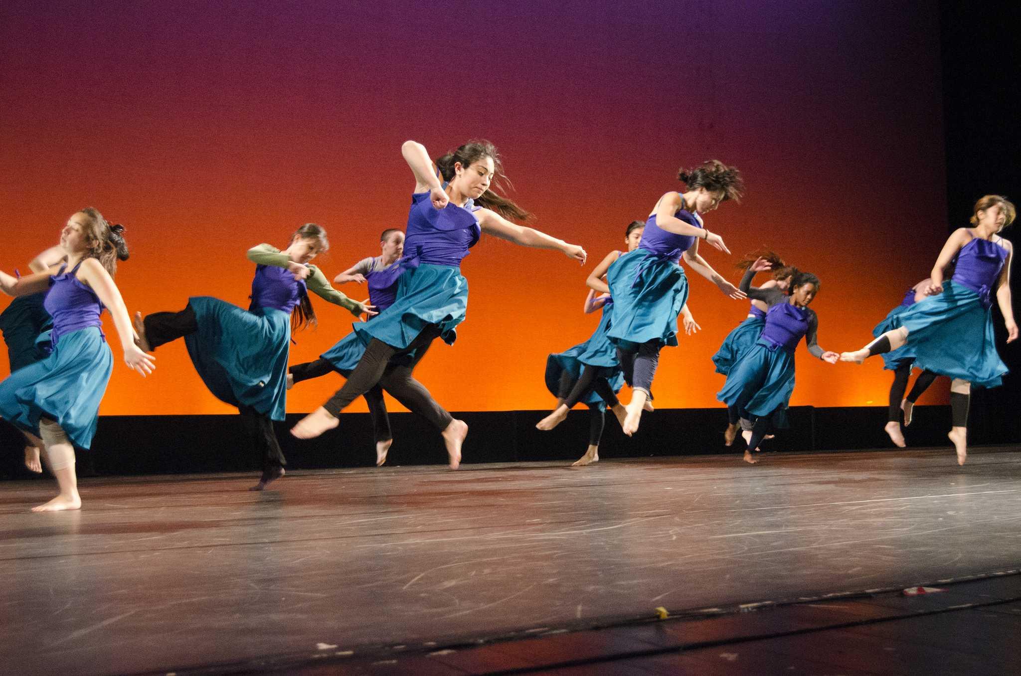 SF State dancers rehearse choreography for Kamala Devam's piece