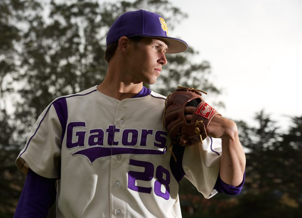 SF State Gator pitcher Cory Davis takes a portrait after the game at Maloney Field Friday, April 24. Davis has made 21 saves this season.(David Henry / Xpress)