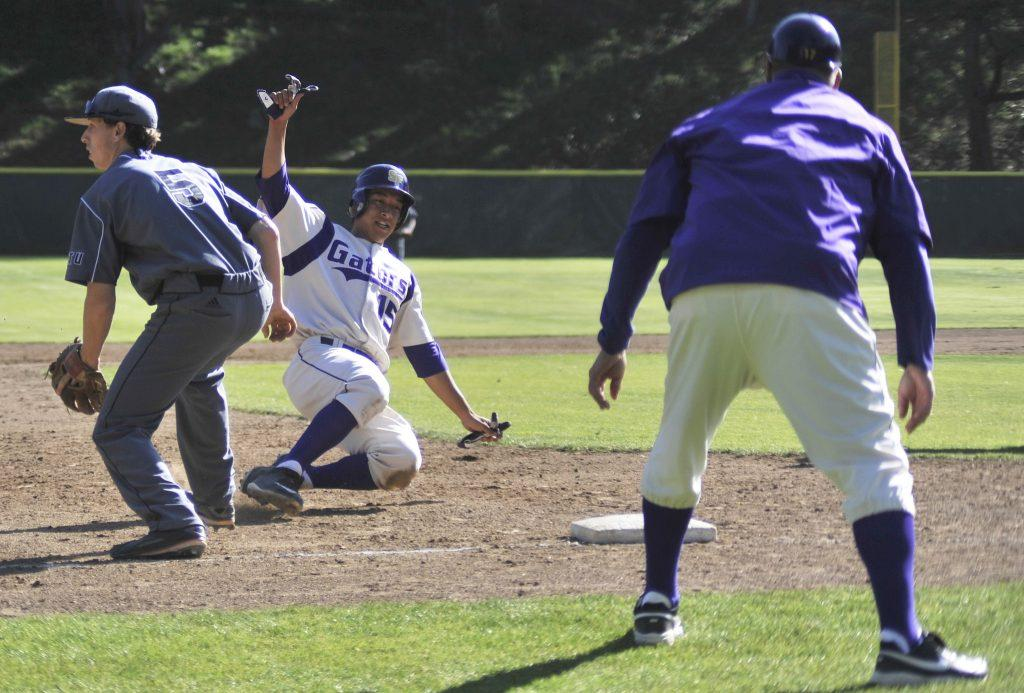 SF State Gators player Joseph Chedid (#15) slides into third base during a game against the Academy of Art Urban Knights on Tuesday, April 14, 2015. (Sara Gobets / Xpress)