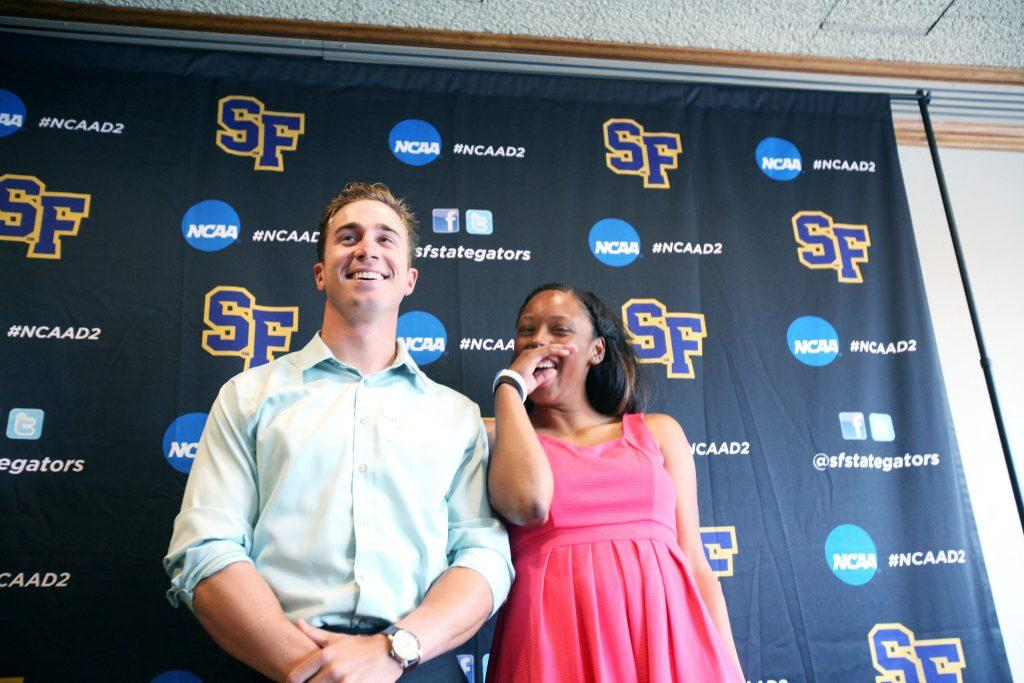 SF State Gator baseball outfielder Daniel Souza and the track team's captain Hilary King prepare to ask a few questions after the Scholar Athlete Reception at the Seven Hills Conference Center Monday, April 20. (Daniel E. Porter / Xpress)