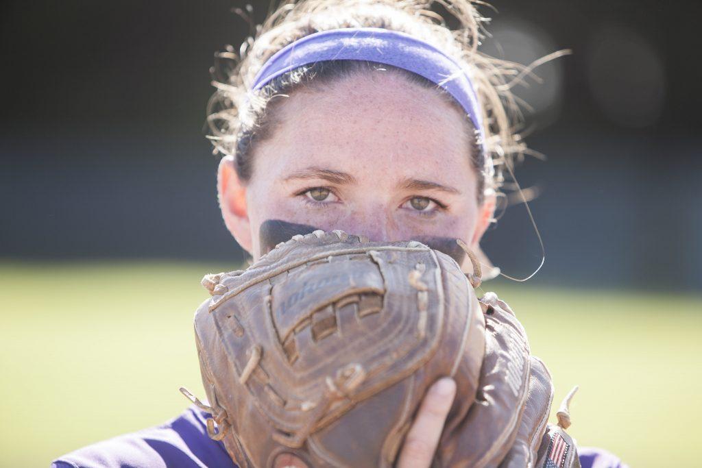 Pitcher Megan Clark, a sophmore communications major, Sat. April 24, 2015. (Martin Bustamante / Xpress)