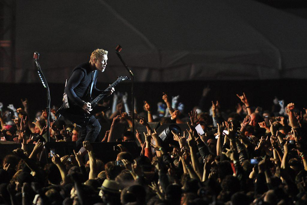 The lead singer of Metallica, James Hetfield, performs in front of thousands at the Lands End Stage during Outside Lands in San Francisco Saturday, Aug. 11, 2012. (Godofredo Vasquez/ Courtesy of the S.F. Examiner)