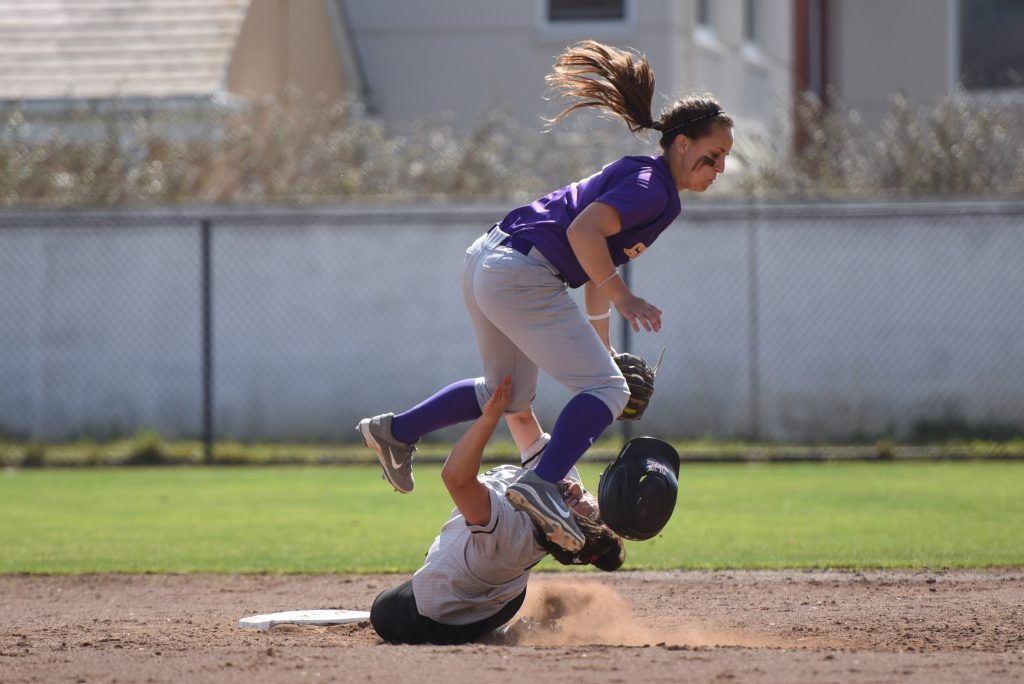 SF+State+Gator+Jennifer+Lewis+collides+with+Holy+Names+University+Marissa+Romero+on+a+double+play+attempt+in+game+one+of+a+doubleheader+at+the+SFSU+Softball+Field+Friday%2C+March+13.+%28David+Henry+%2F+Xpress%29