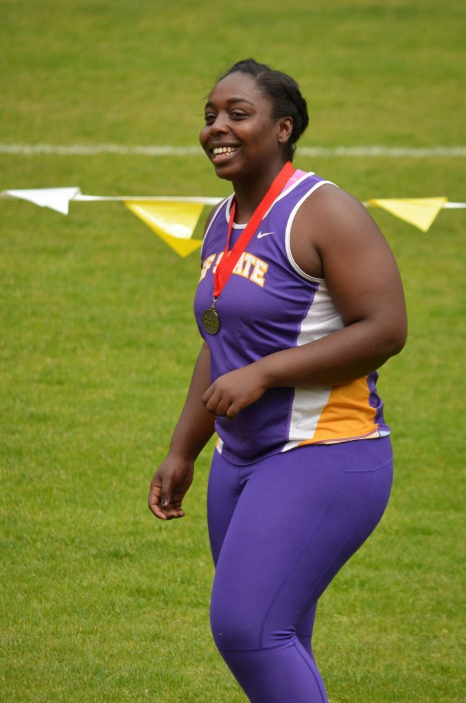 SF State Gator Alex Jones earned the silver medal in the shot put competition during the 2015 CCAA Championships at Cox Stadium Saturday, May 2. Jones set her personal record with a throw of 13.35 meters. (Melissa Minton / Xpress)
