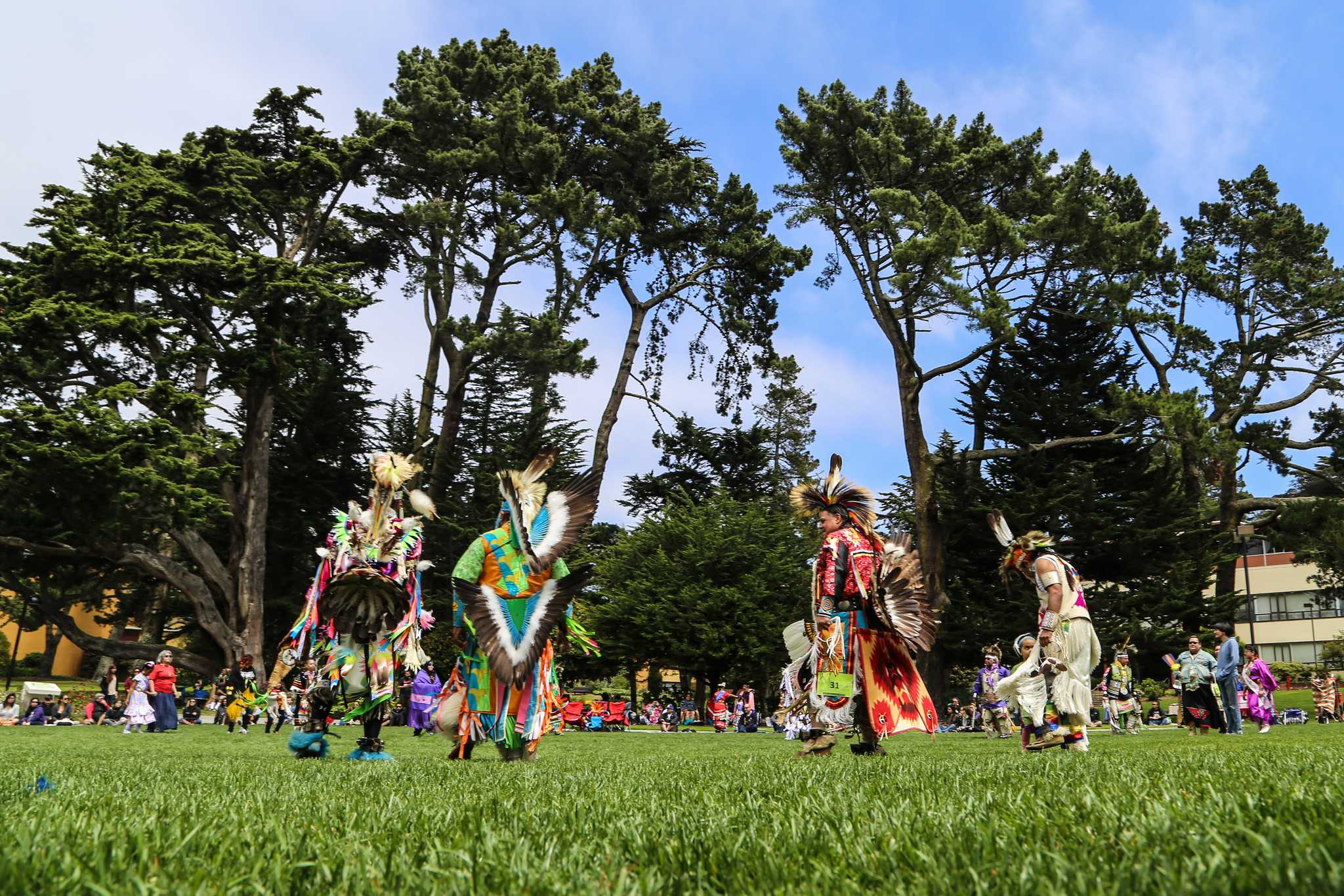 The quad at SF State was filled with color on Sunday, May 3, as dancers in traditional regalia and eager onlookers participated in the Celebration of Nations Pow-Wow put on by the Student Kouncil of Intertribal Nations. (Kate Fraser / Xpress)