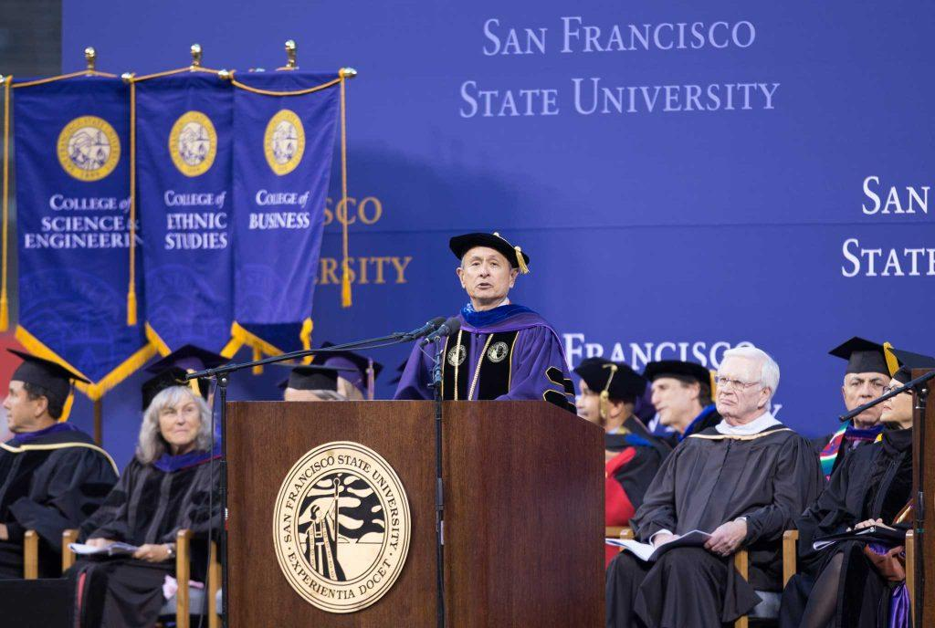SF+State+University+President+Leslie+E.+Wong+speaks+to+more+than+8%2C000+graduates+at+AT%26T+Park+during+at+the+college%27s+2015+Commencement+ceremony.++%28BRIAN+CHURCHWELL+%2F+Golden+Gate+Xpress%29