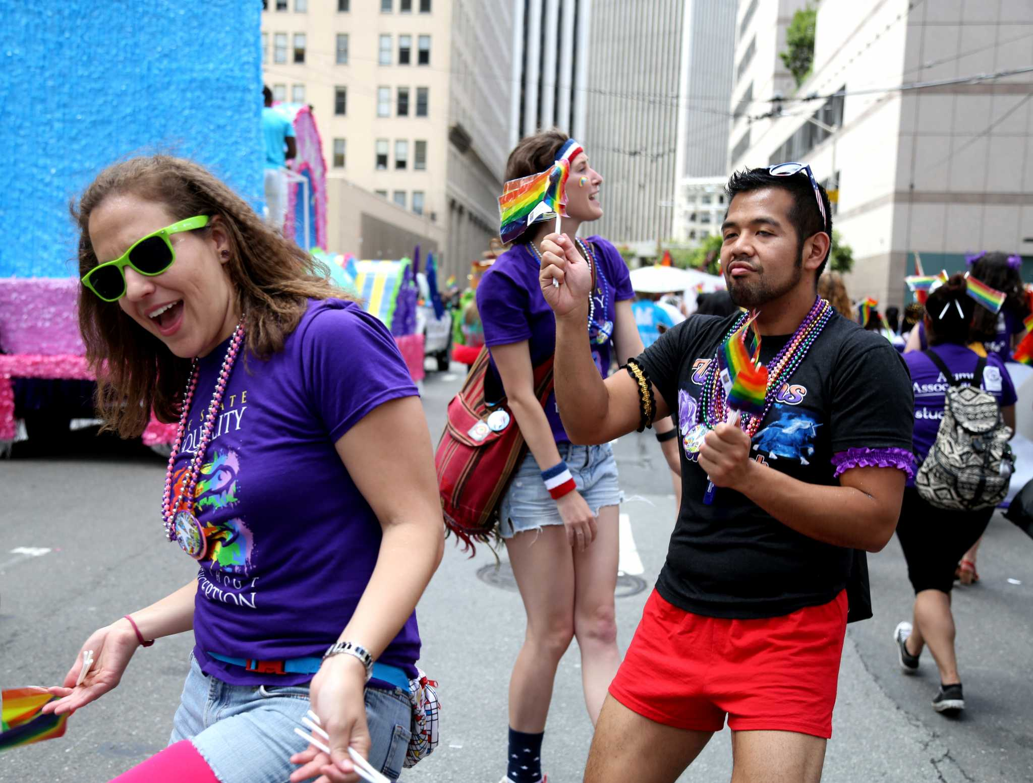 SF State students dance while waiting to participate in the Pride Parade in the Civic Center San Francisco on Sunday, June 28, 2015 (Xpress/Emma Chiang)