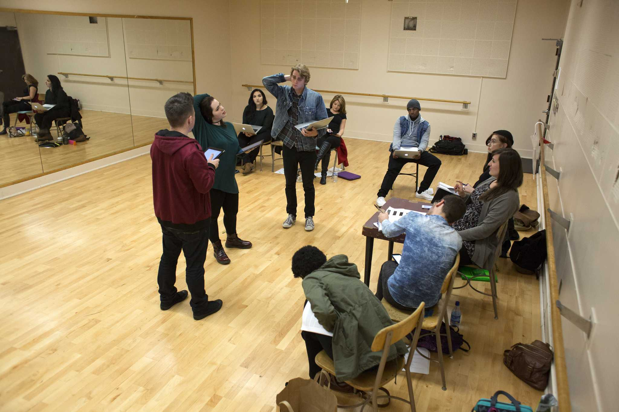 Students rehearse for the play Absinthe Green in the creative arts building at SF State on Monday, Sept. 14, 2015. (Ryan McNulty / Xpress)