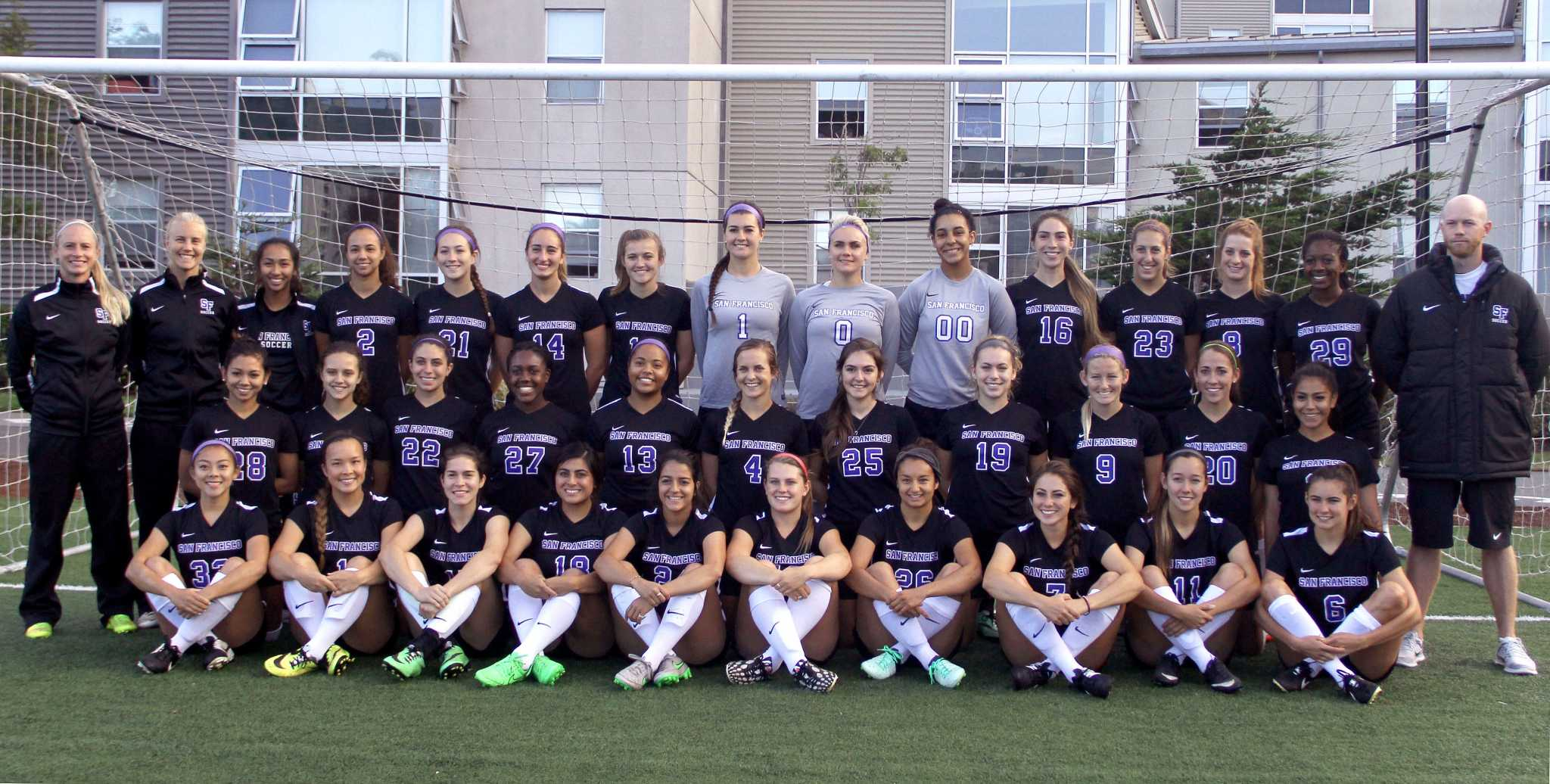 SF State's Women's Soccer team poses for a group photo on West Greens on Thursday, August 27. (Angelica Williams / Xpress)
