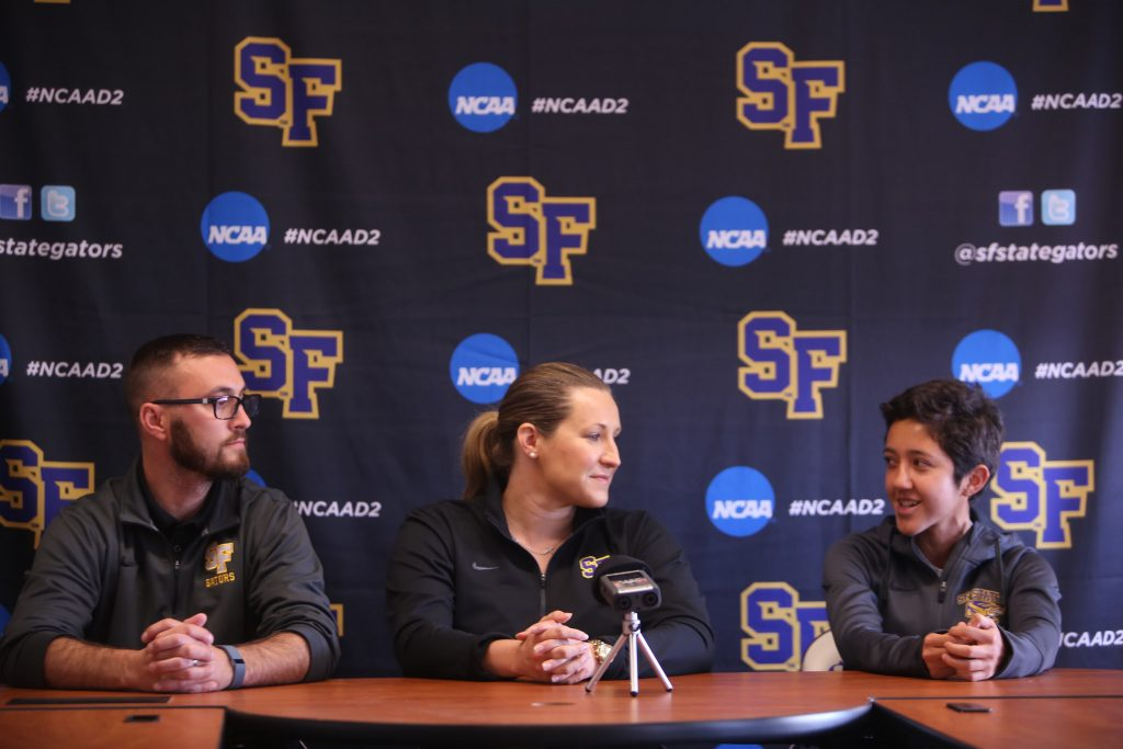 Adriana Calva (right), a member of SFSU women's cross country team,  responds to questions during a sports press conference held at SFSU on Thursday September 2, 2015. (Joel Angel Juárez /  Xpress)