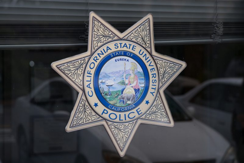 CSU Police logo at the SF State University Police, September 2, 2015. (Brian Churchwell / Xpress)