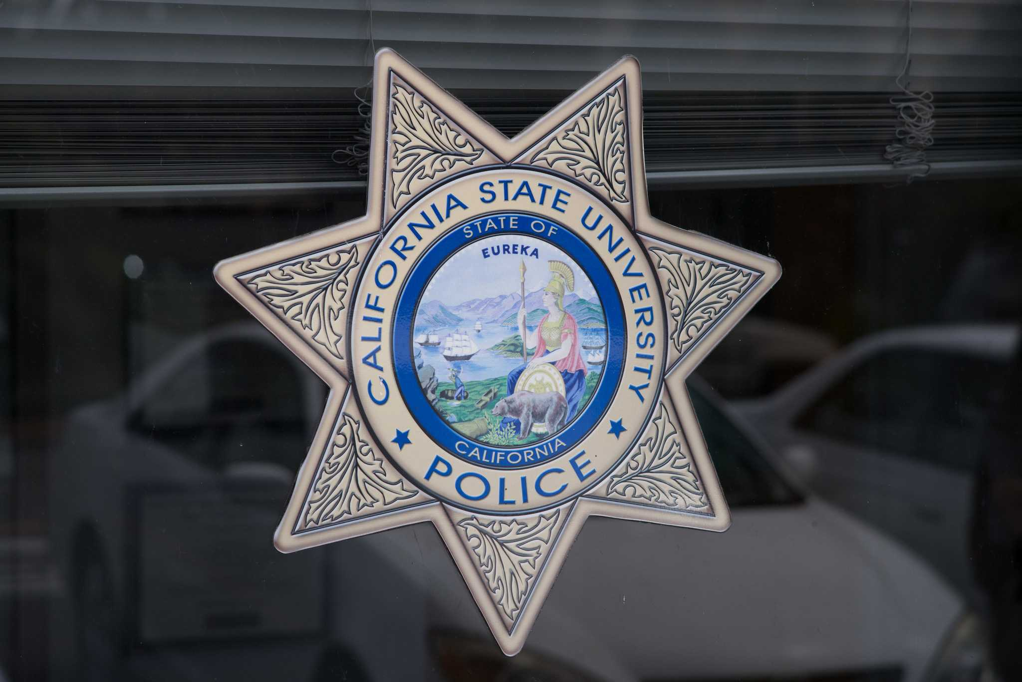 CSU Police logo at the SF State University Police, September 2, 2015. (Brian Churchwell / Xpress)