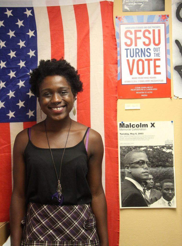 Naeemah+Charles%2C+the+Vice+President+of+External+Affairs+for+Associated+Students%2C+Inc.+stands+in+her+office+in+the+Cesar+Chavez+building+of+SF+State+Tuesday%2C+Sept.+8%2C+2015.+%28Alex+Kofman+%2F+Xpress%29