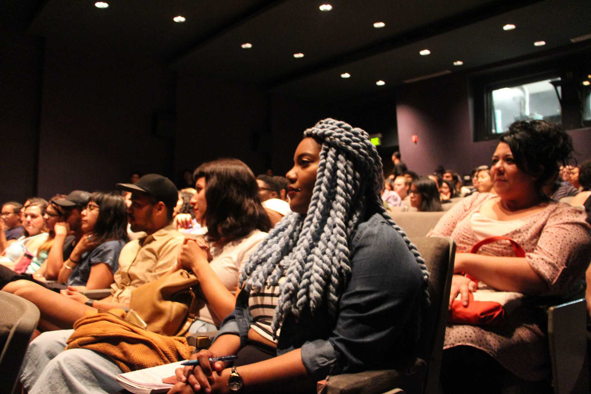 Lexus Killingsworth listens to Black Lives Matter co-creator Alicia Garza speak during a discussion about queer and trans communities in San Francisco, at Coppola Hall Thursday, Sept. 10, 2015. (Xpress/Alex Kofman)