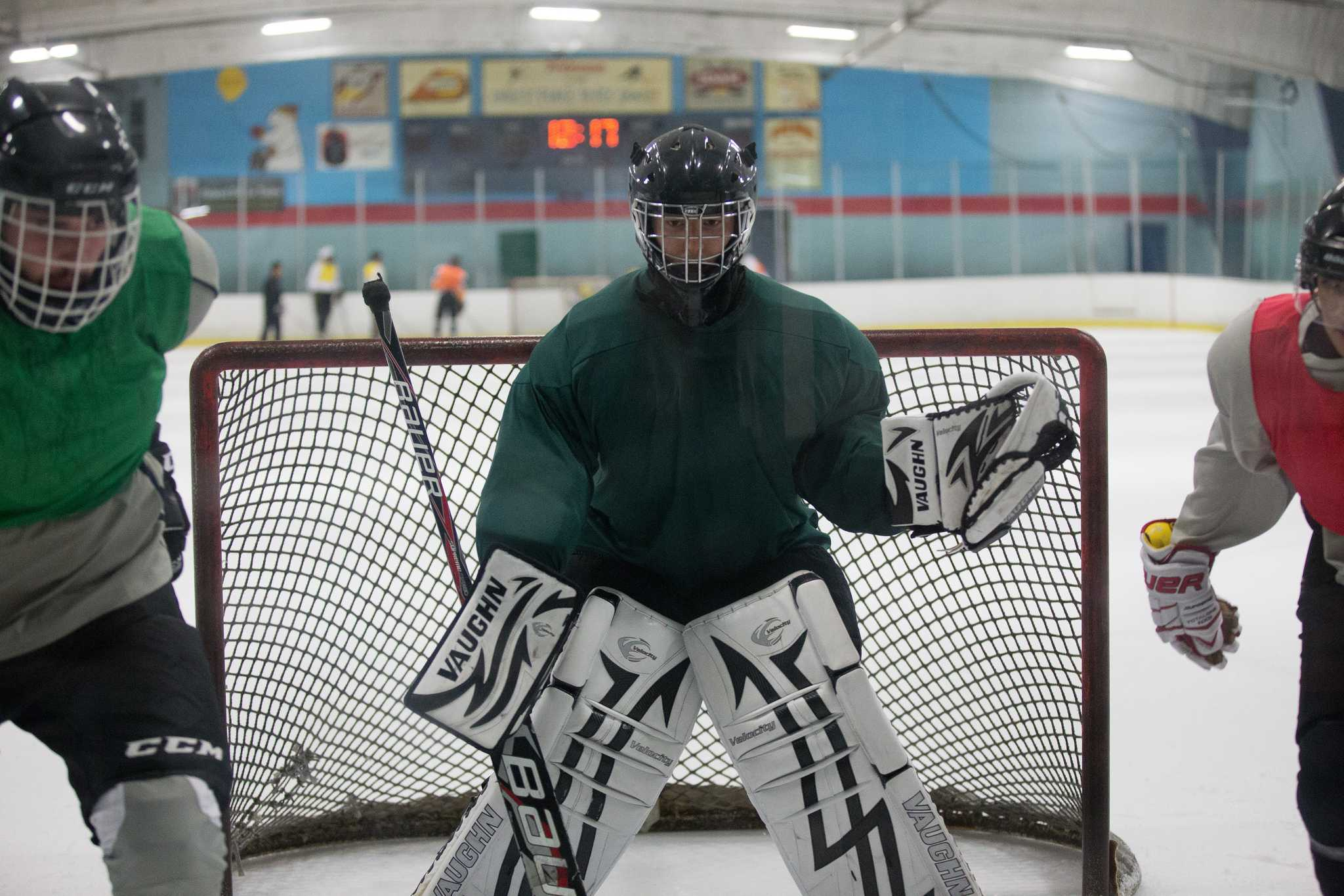 Goalie Patrick Maris drills with teammates during practice at Nazareth Ice Oasis in Redwood City, Calif., Sunday, Sept. 13, 2015. (Brian Churchwell / Xpress)