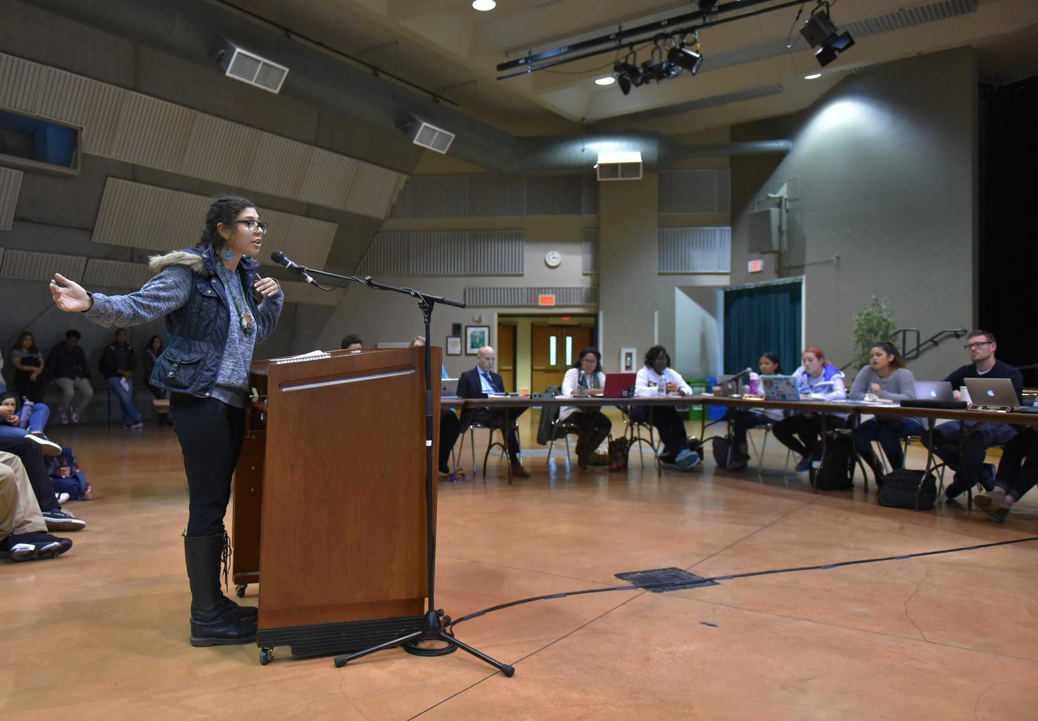 SF State student, Metzali Andrade, speaks against funding cuts during a public comment section on Associated Students, Inc. board meeting at Jack Adams Hall at SF State Wednesday, Sept. 30. (Qing Huang / Xpress)