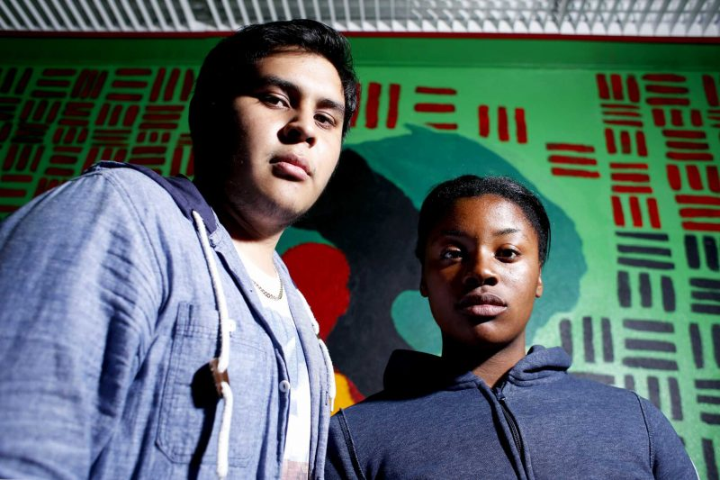 Kevin Flores (right) and Precious Ogbonna (left) both members of the Black Student Union at SF State pose for a portrait in the BSU office in the Cesar Chavez Student Center Monday, Sept. 28, 2015. (Emma Chiang / Xpress)