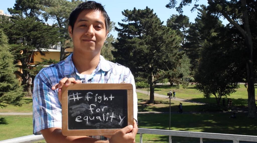 Joe Campos holds his hashtag #FightForEquality  that he believes represents the hashtag #BlackLivesMatter (Xpress Staff)