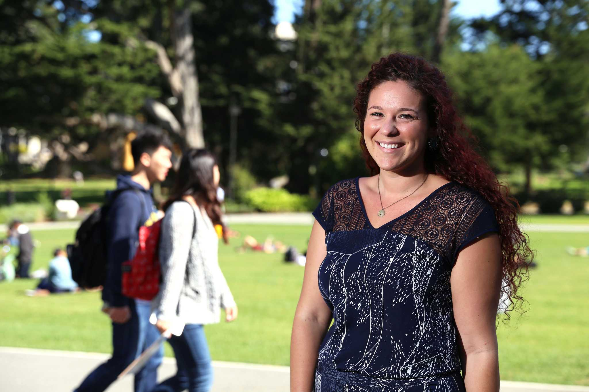 Sage Russo, sexual studies graduate student poses for a portrait in the Quad at SF State Monday, Oct. 5. (Imani Miller / Xpress)
