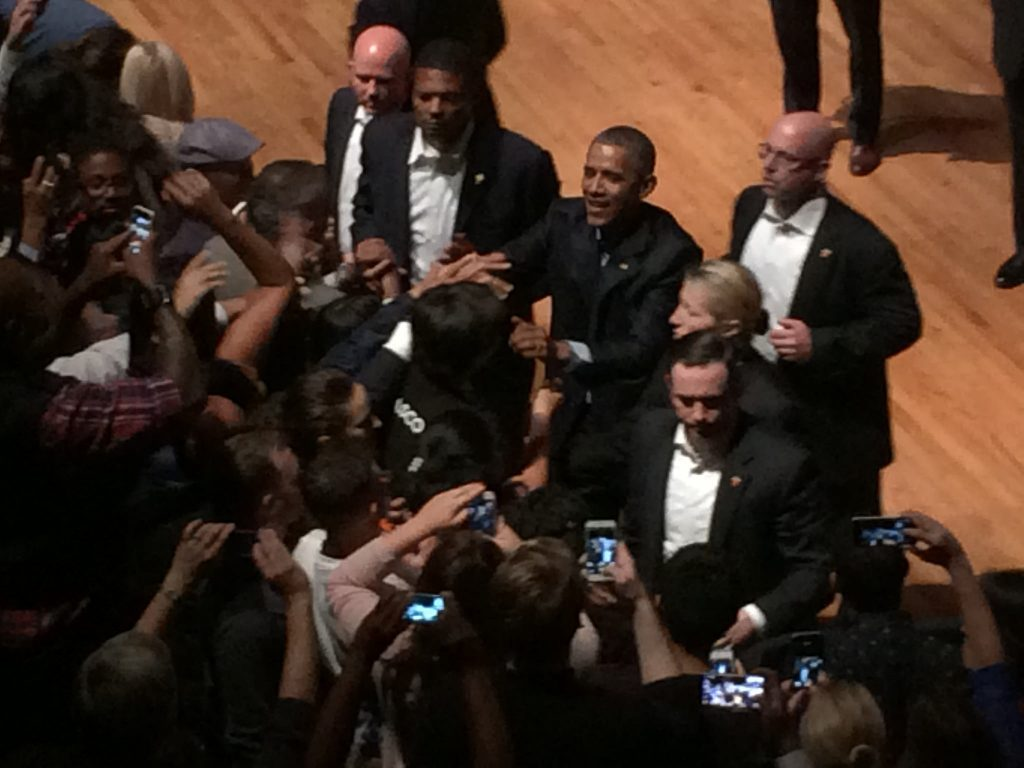 President Barack Obama speaks at The Warfield in San Francisco for a fundraiser for the Democratic Hope Fund. Obama spoke about current issues in America such as gun laws, immigration and the current presidential election Saturday, Oct. 10, 2015. (Gabriella Angotti-Jones / Xpress, iPhone photo)