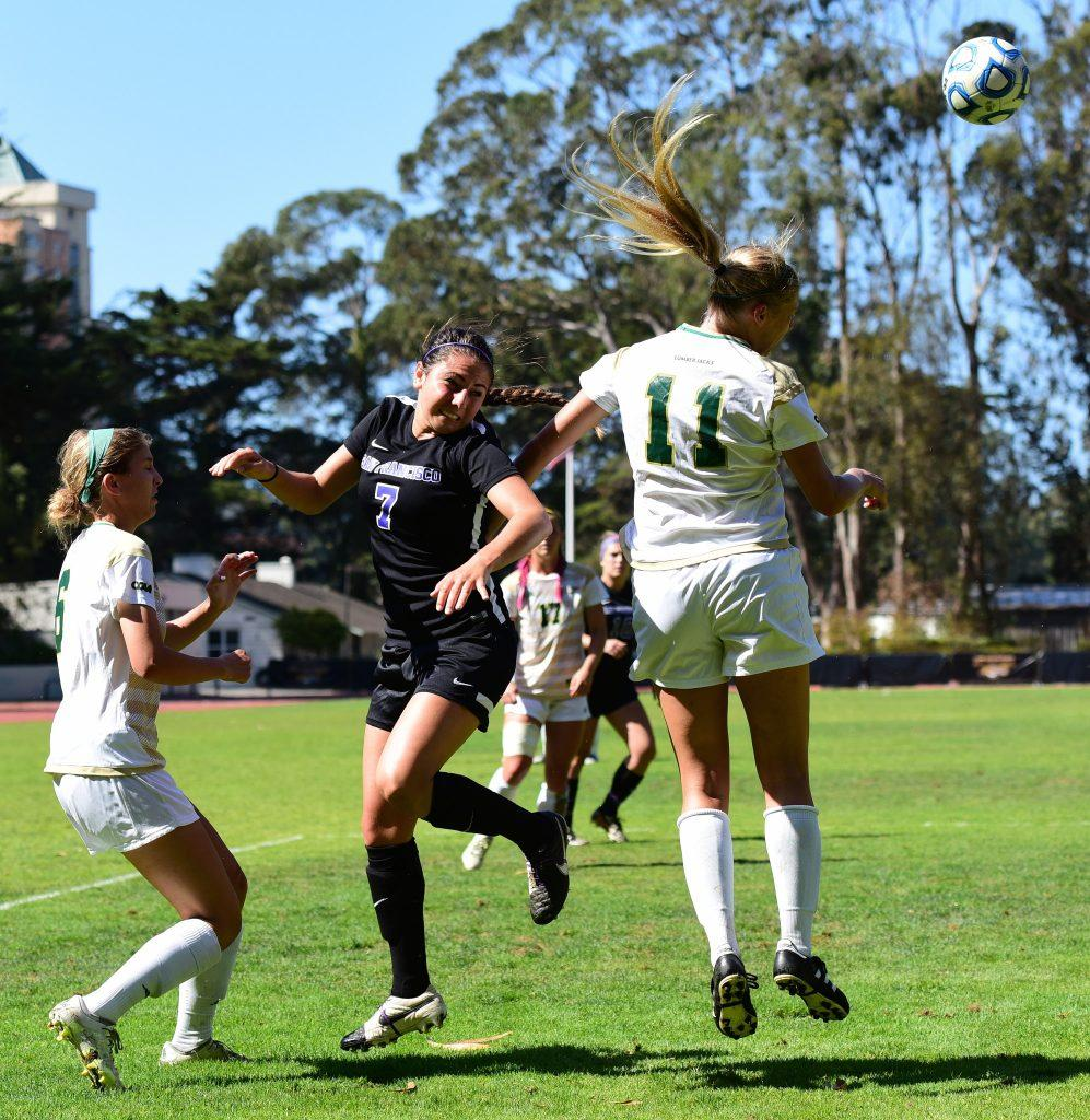 SF State Gators midfielder Brittany Oldham (7) heads the ball towards goal against the Humboldt State Lumberjacks at Cox Stadium Sunday, Oct. 4. (David Henry / Xpress)