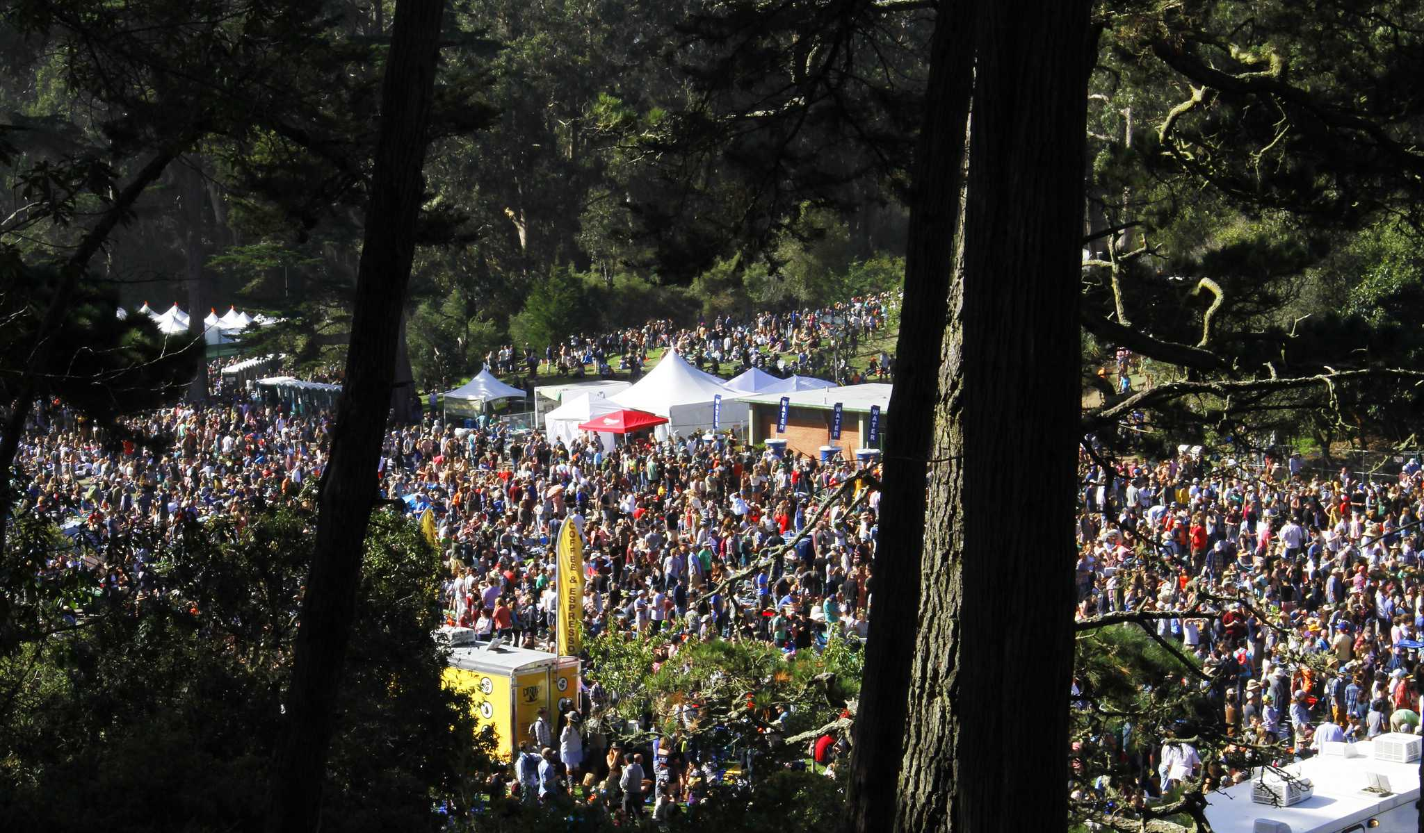 A birds eye view of Hardly Strictly Bluegrass Festival in Golden Gate Park Saturday, Oct. 3, 2015. (Angelica Ekeke/Xpress)