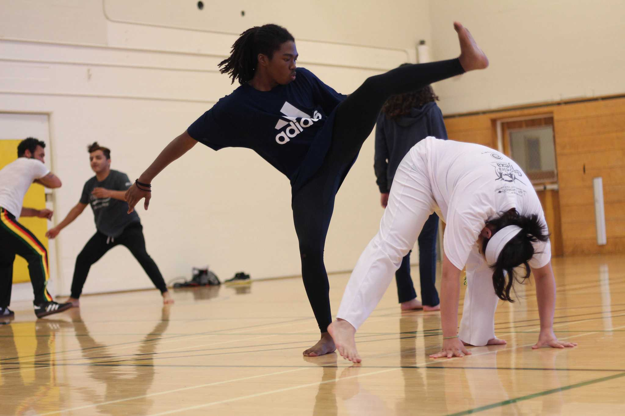 Students and members of the Capoeira Club at SF State, Sean Smith, practices his Capoeira techniques during practice Friday, Oct. 9, 2015. (Alex Kofman / Xpress)