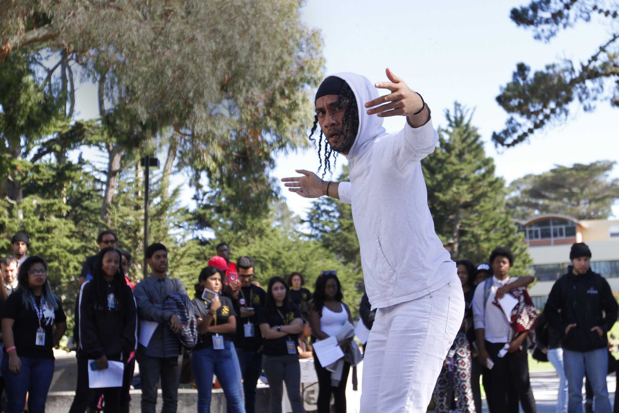 Spencer Pulu, 23, Race & Resistance Dance Major, performs his dance piece