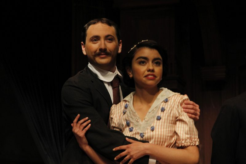 Aaron Moses (left) and Regina Leon (right) embrace each other on stage during the rehearsal of Much Ado About Nothing in the Creative Arts building an upcoming show at SF State Monday Nov. 16. (Imani Miller / Xpress)