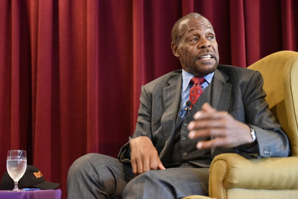 Danny Glover, actor, activist and SF State alumnus, talks to the audiences during The College of Ethnic Studies' 46th Anniversary Celebration at Seven Hills Conference Center at SF State Sunday, Nov. 8. (Qing Huang / Xpress)