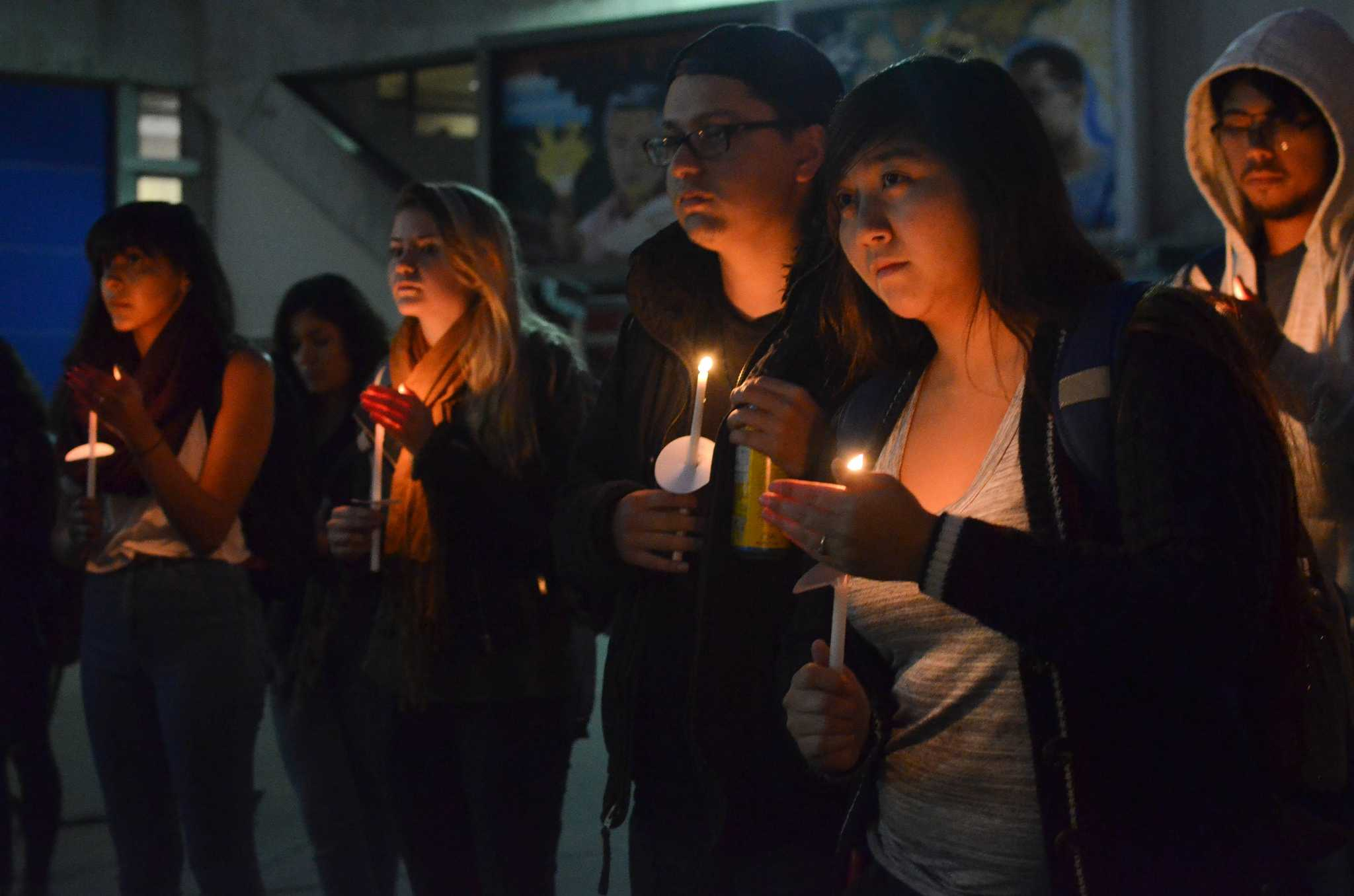 Students gather for the SF State Vigil Against Violence in Malcolm X Plaza Tuesday, Nov. 17, 2015. The vigil is in honor of death of Cal State Long Beach student Nohemi Gonzalez and many   others during the attacks in Paris Friday, Nov. 13, 2015. (Melissa Minton / Xpress)