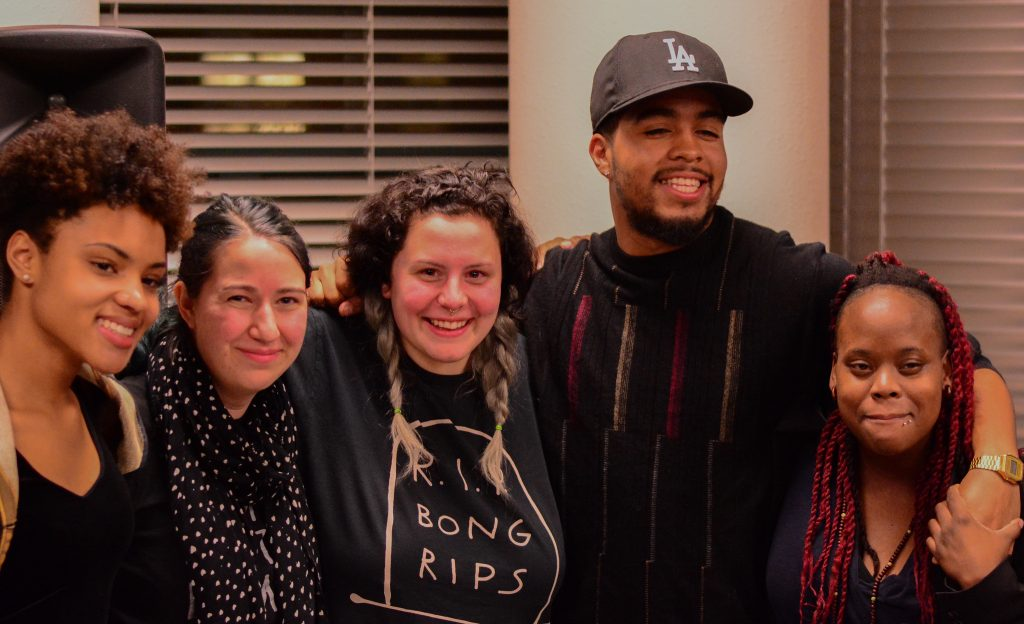 (left to right) Spoken Poetry Expressed By All Kinds or SPEAK finalists for the College Unions Poetry Slam Invitational, Kali Ausselet, Ezra Yampolsky, Maddy Marie, Keenan Todd, and Destiny Evans pose for a portrait in the Poetry Center at SF State Humanities 512 Tuesday, Nov. 17, 2015.
