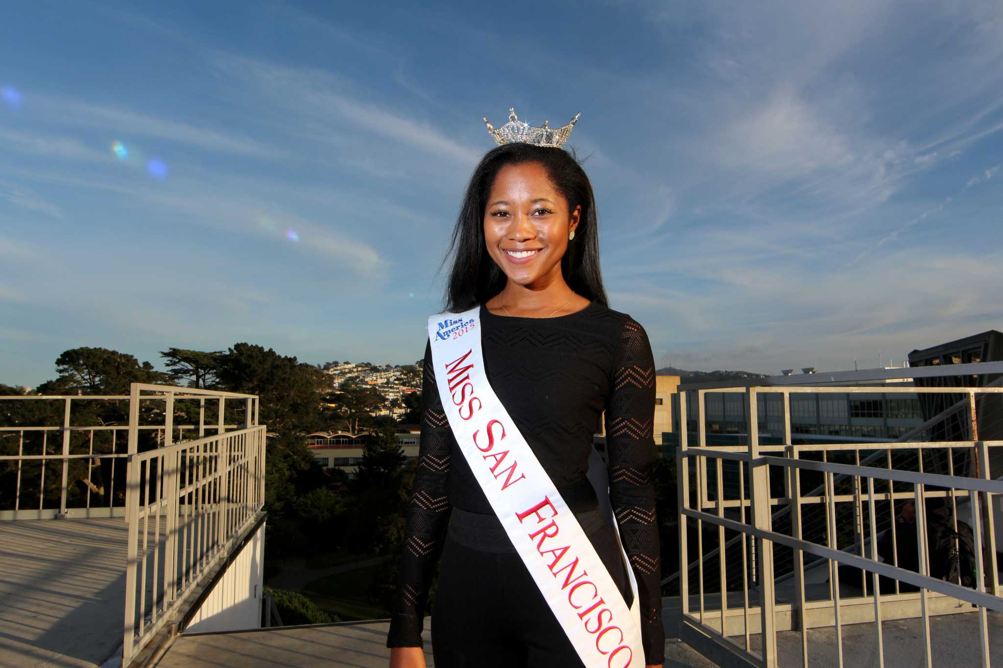 Felicia Stiles, Miss San Francisco 2015, poses for a portrait at SF State Tuesday, Nov. 17, 2015. (James Chan / Xpress)