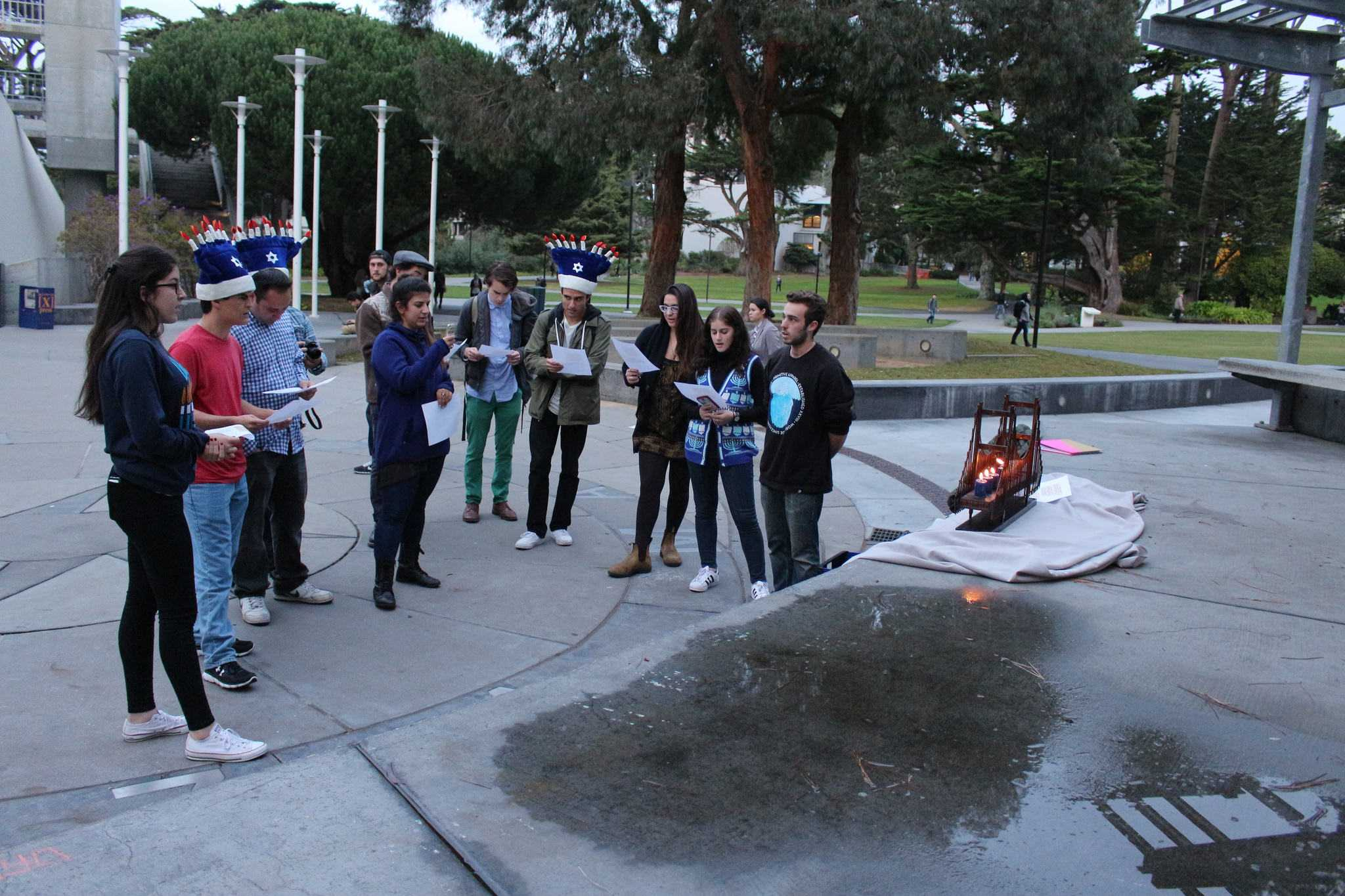 SF Hillel celebrates the second day of Hanukkah in Malcolm X Plaza Tuesday, Dec 8. (James Chan/Xpress)