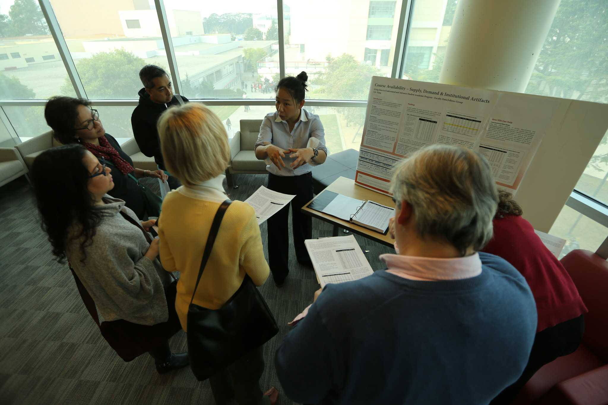 Sybil S. Yang, an SF State hospitality and tourism management assistant professor, presents her findings during the SF State Faculty Data Fellows Group presentation on student academic progress in the J. Paul Leonard Library Wednesday Dec. 2, 2015. (Photo by Joel Angel Juárez / Xpress)