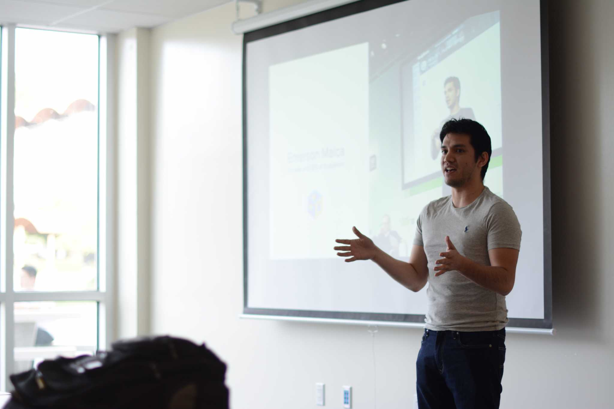 Emerson Malca, founder of StudyRoom, speaks to SF State students about start-ups at INCUBED Welcome Day in the J. Paul Leonard Library, Tuesday, Feb. 9, 2016. (Xpress / Emily Chavous)